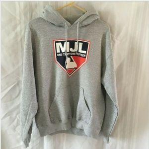 Pullover Hoodie MJL BASEBALL Gray Sweatshirt  Med